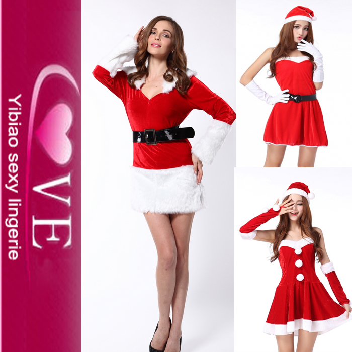 Factory Hot Sweet Santa Christmas Costume Sexi Pho Dress Women Christmas Eve Costume