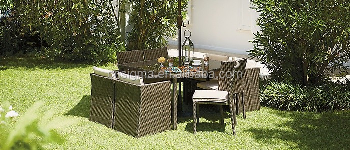 2017 Sigma good quality high end furniture luxury rattan dining room sets