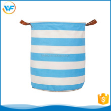 Promotion Foldable Blue /White Stripe Laundry Hamper Lid Foldable Toy Storage Basket collapsible laundry bask Cube with Handles