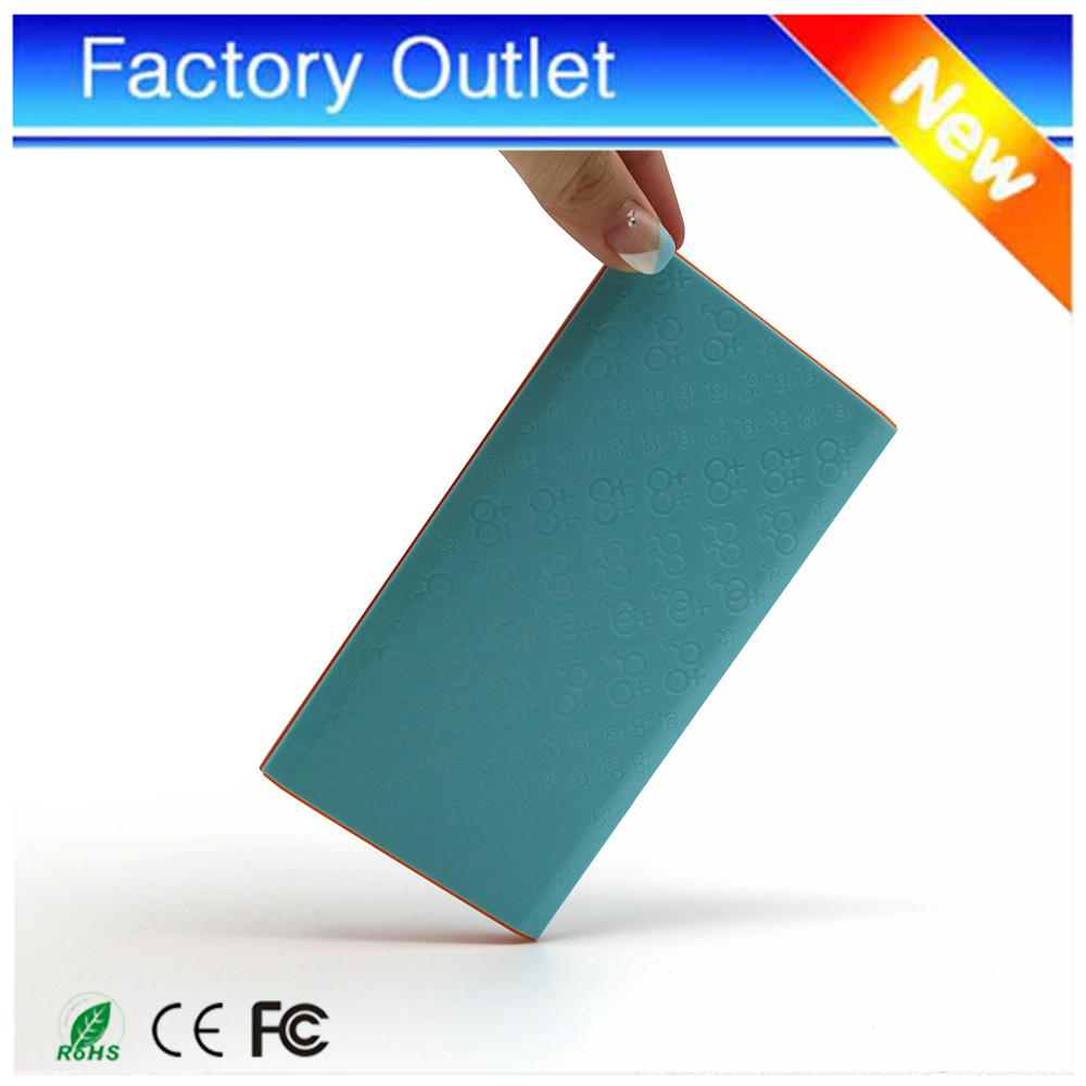 2016 fashion green custom usb power bank 6000mah external battery with slim body