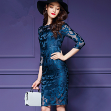 KS00590A Beautiful Embroidery Knee Length Plus Sizes Fashion All Types Ladies Dresses
