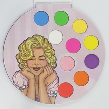 OEM wholesale private label cosmetics no brand 10color glitter eyeshadow palette with 2 lines ,can print your own logo