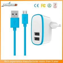 2 Ports Euro Charger 5V 2A Dual USB Port Cell Phone Travel Charger with Micro Cable for Samsung S5/ note 3