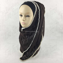 New design beautiful Muslim Hijab Fashion Pearl Cotton Scarf Chain Colorful Plain Scarves
