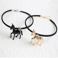new fashion jewelry wholesale cheap horse leather short necklaces jewelry