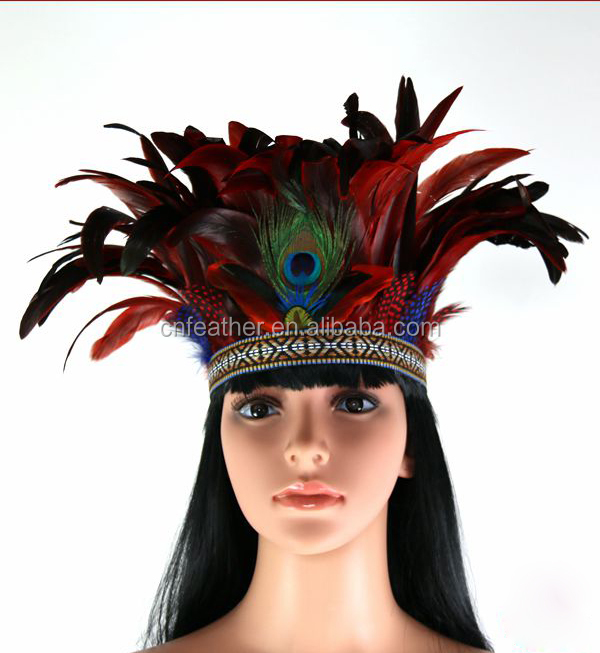Wholesale Colorful Carnival feather Original Indian headdress / feather headband / feather hair accessories