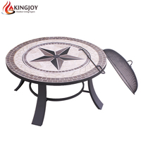 Mosaic tile top table fire pit for wood burning