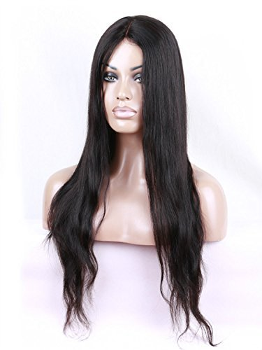 Natural Black Straight Remy Human Hair Brazilian Wigs Glueless Machine Made with Front Lace Part Hand tied