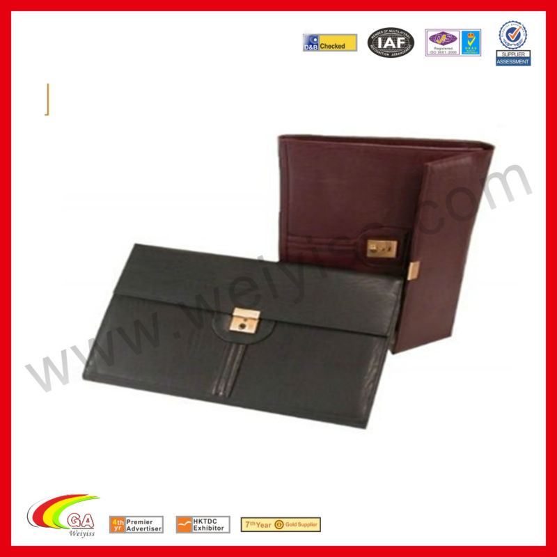 Black Leather Fashion Portfolio a4 Folder in Lock Document for Office/Promotion Gift 2013