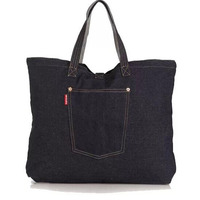 factory price reusable denim canvas tote bag with zipper wholesale
