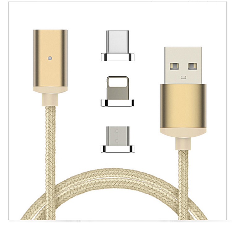 3 in 1 Magnetic USB Cable 2.4A For Iphone/Type-c/Micro Magnet Multi Charger Data Cables