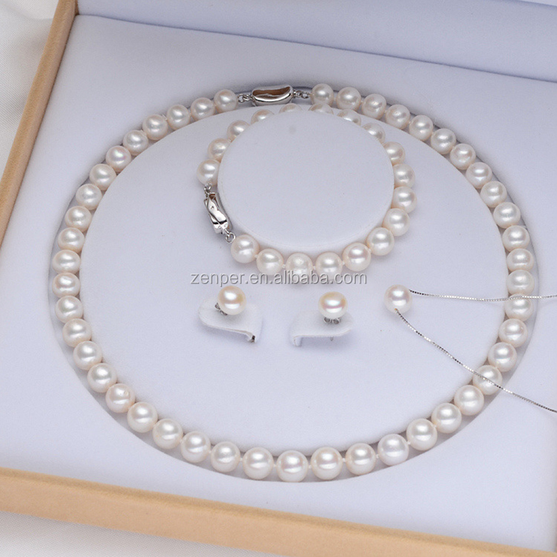 Dainty freshwater pearl necklace pearl jewelry set pearl for women