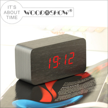 Hot sale newly design antique wooden material led alarm table clock