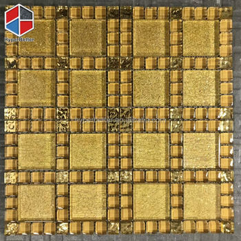 Easy installation corridor square golden glass mosaic