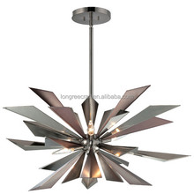 Modern Industrial Stainless steel laser cutting triangle Wings 7 Light Crystal Chandelier Light Fixture