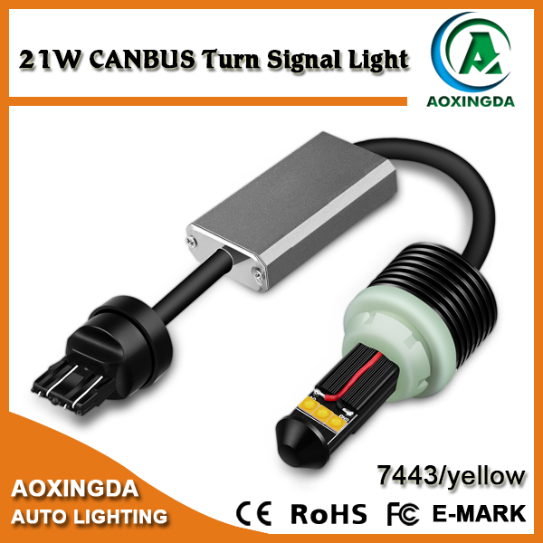 Real 21W canbus error free 7443 7444 LED turn signal yellow light bulb