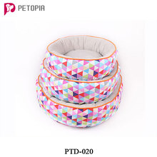Pet Dog Cat Round Bed with Geometric Pattern