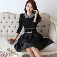 Hot sell Korean dresses new fashion sexy black party dress