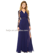 Hot sale lace embroidered splice chiffon long sleeve maxi evening dress