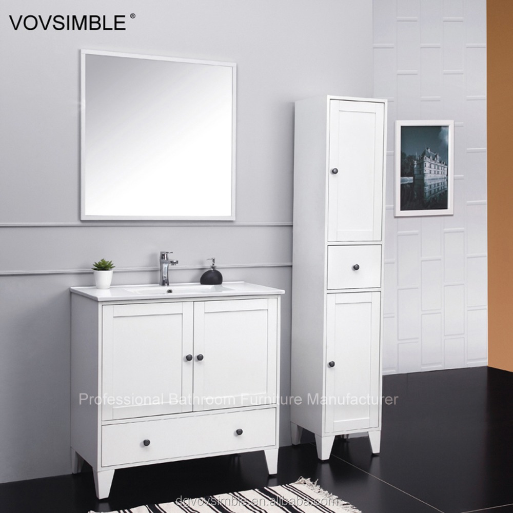Free Standing Solid Wood Bathroom Cabinet Bathroom Mirror