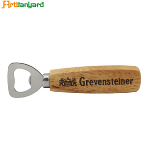Customized Wine Opener Wall Mount Key Wooden Handle Bar Beer Bottle Opener With Logo Printing