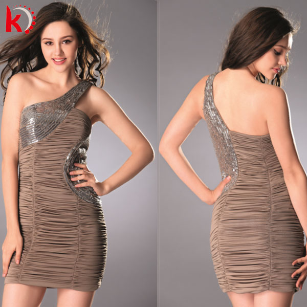 Elegant Coffee One Shoulder Ruffle Knee Length Short Dress Sexy Backless Beautiful Cocktail Party Dress