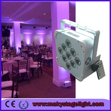 Top level battery powered flat led light 9x18W rgbwa uv 6in1 wireless dmx par can wedding show lighting