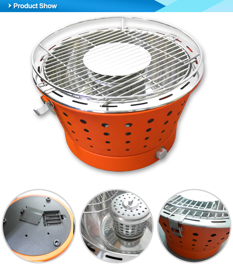 Stainless steel smokeless portable charcoal BBQ grill