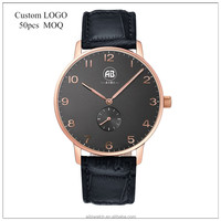 rosegold case second small men quartz watch leather band