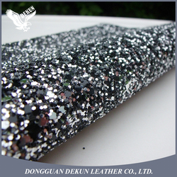 1.5mm thickness Chunky Grade 3 PU Glitter leather