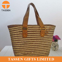 professional top quality straw bag sequins beach straw bag with leather handles