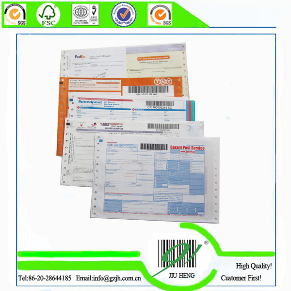 Express carbonless paper express waybill with barcodes