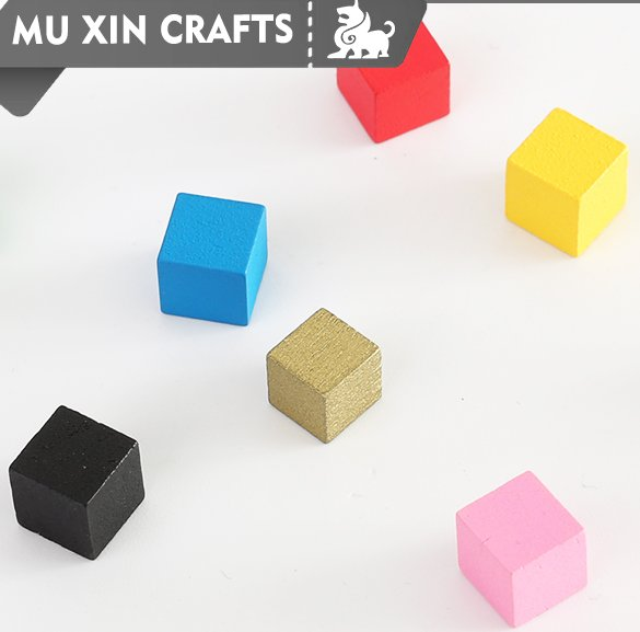 6-40mm custom colorful wooden cubes piece for board game without MOQ