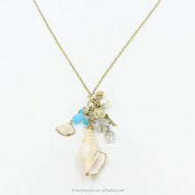 2017 Fashion Conch Design Crystal Pearl Pendant Necklace Golden Long Thin Chain Necklace