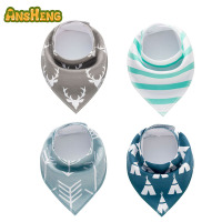 Private Label Baby bandana teething adjustable two button snap cotton bandana bib