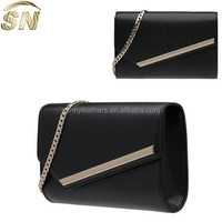 wholesale alibaba leather clutch bag with metal chain