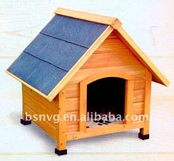 Wooden Classic Dog House With Blue Roof