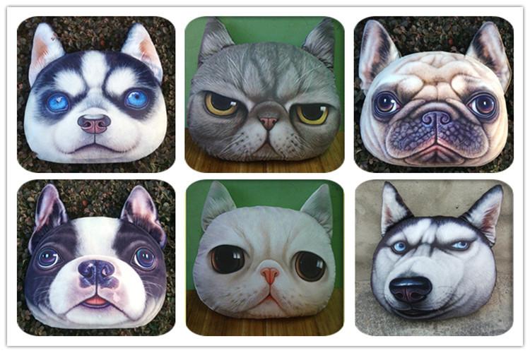 Animal Shaped Eye Pillow : Creative Dog Face Soft Short Floss Filled Pp Cotton Digital Printing Decorative 3d Plush Animal ...