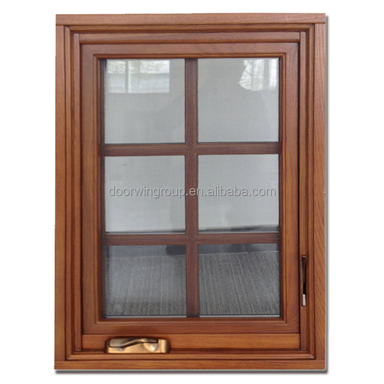 Grille design Oak Wood Casement Windows with tempered glasses American crank timber aluminium casement window