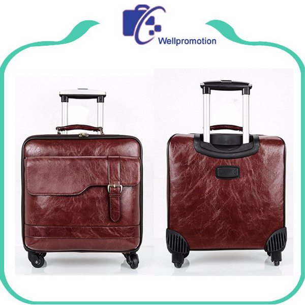 Pu leather business travelling carry on trolley luggage bag