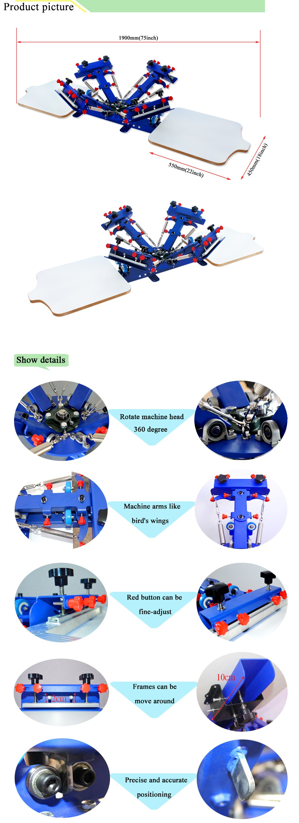Manual 4 Color 2 station rotary t shirts printing machine