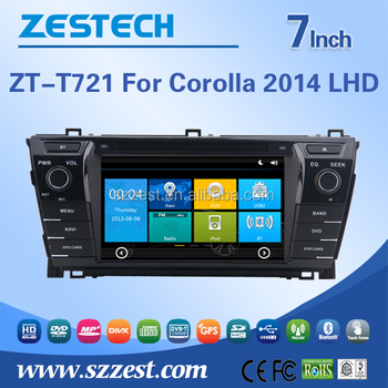 ZESTECH high quality HD Touch Screen Indashboard car dvd player for toyota corolla 2014 with gps, usb, sd, swc, fm/am