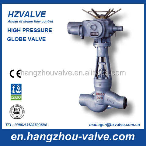 High pressure actuated steam globe valve
