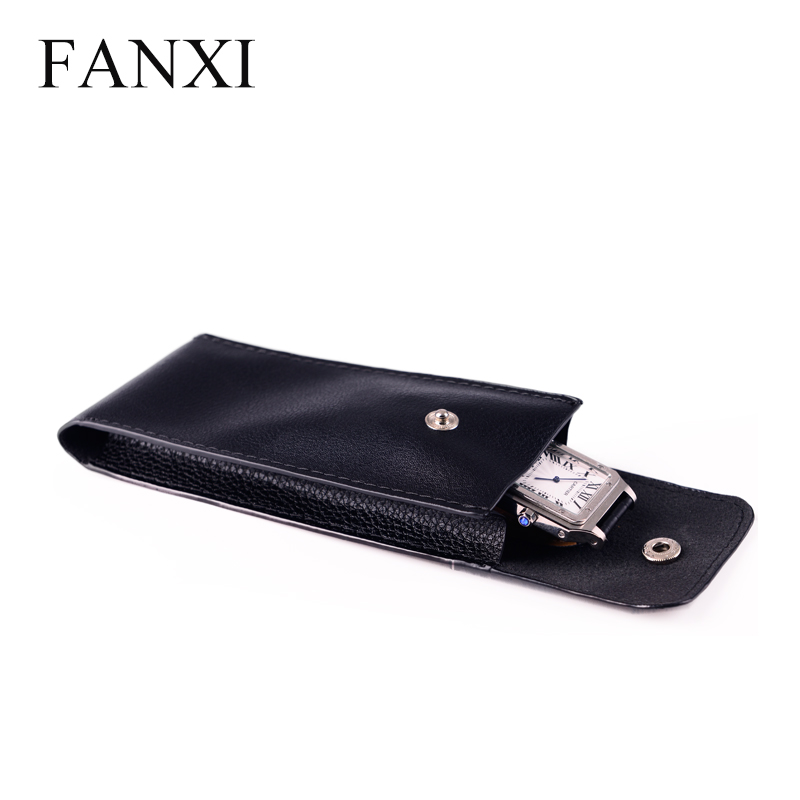 Wholesale custom China factory of black PU for jewellery and cellphone packing for watches shop gift leather watch pouches