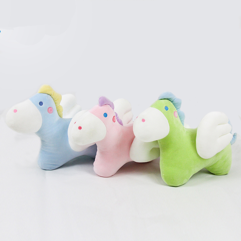 Lovely baby small soft horse plush animal toys for kids with wings arcade claw machine toys