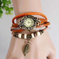 New Arival Fashion vintage leather quartz watch charm watch leaf pandent lady watch