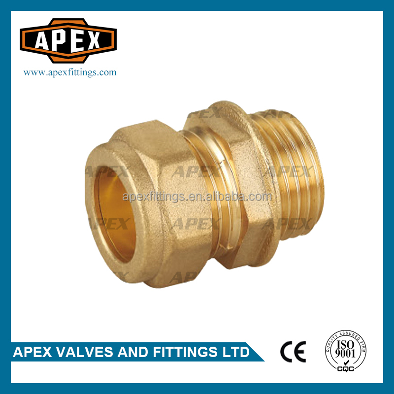APEX Brass Compression Reducing Male Straight Coupling