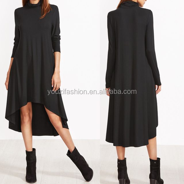 Black cowl neck swing dress with high low midi dress women party fashion elegant dress for ladies
