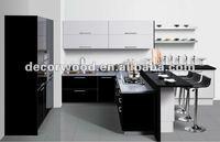 Ultra high gloss black kitchen cabinet