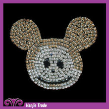 Lovely Mickey Mouse Cystal Rhinestone Beaded Applique for Bag Decorated